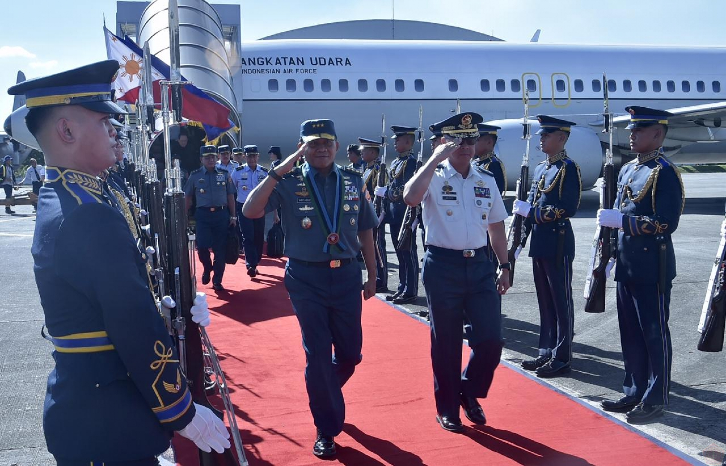 Kasum TNI Tiba di Villamor Air Force Base Filipina